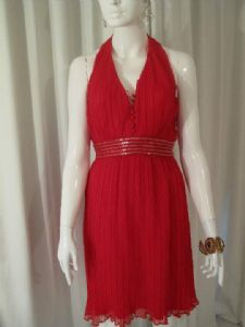 1970's Blood red crystal pleated vintage halterneck dress by Miss Elliette.